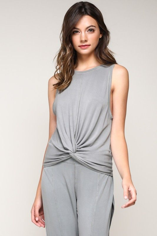 tops Front Knot Sleeveless Top