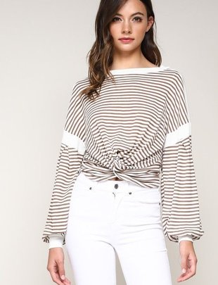 tops L/s Stripe Knot Crop Top