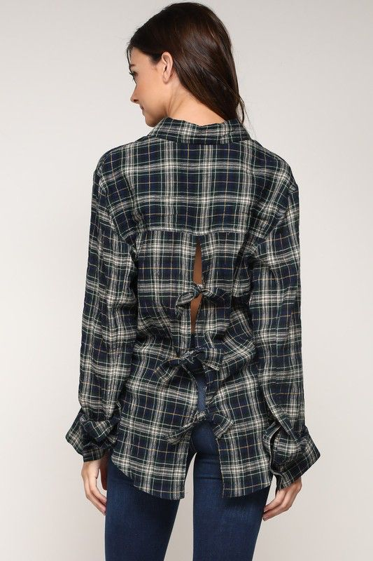 Shirt Bow Back Plaid Shirt