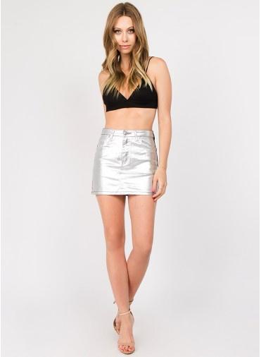 Skirt Metallic Contrast Moto Skirt