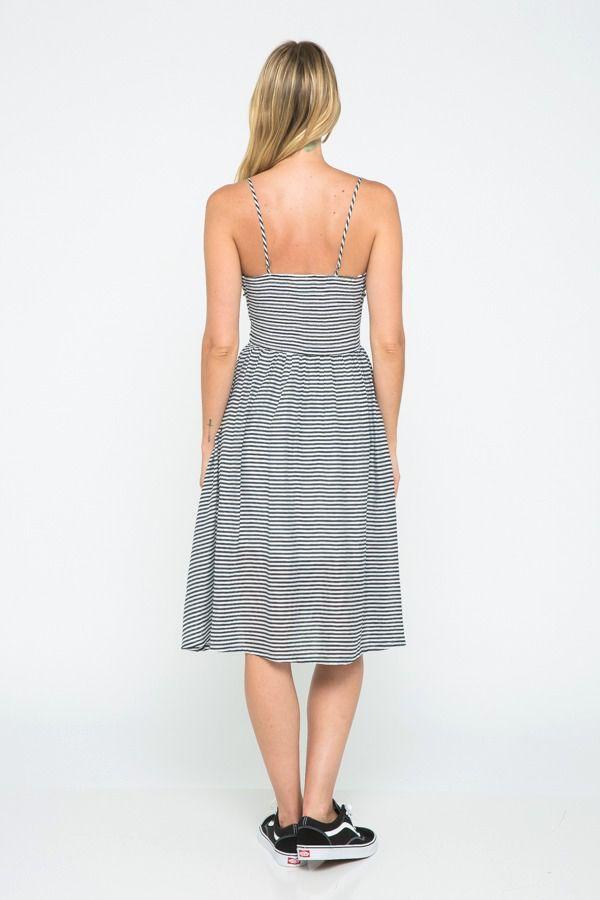 dresses Stripe Print Sleeveless Midi Dress
