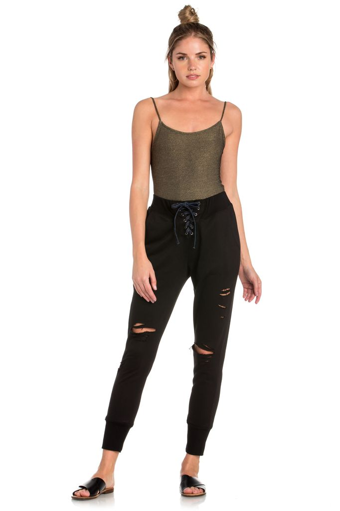 Bottoms Lace Up Distressed Jogger