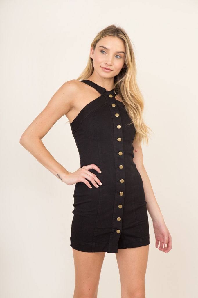 dresses Button-Up Denim Dress