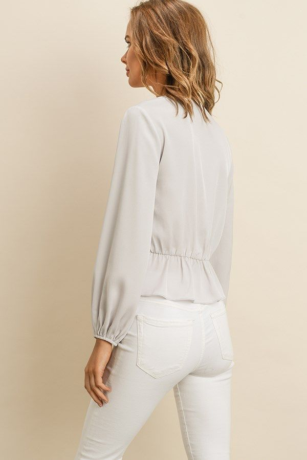 tops L/s Pleated Blouse