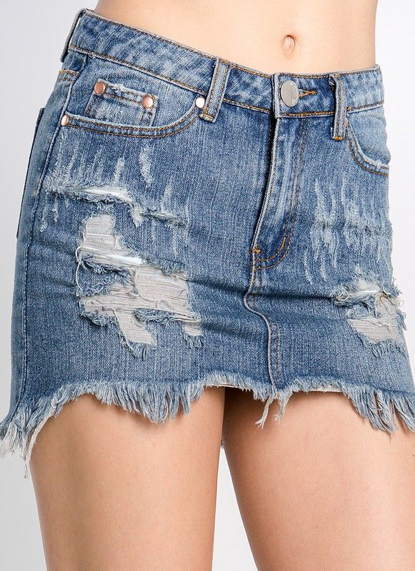 Skirt Frayed hem distressed Mini Skirt