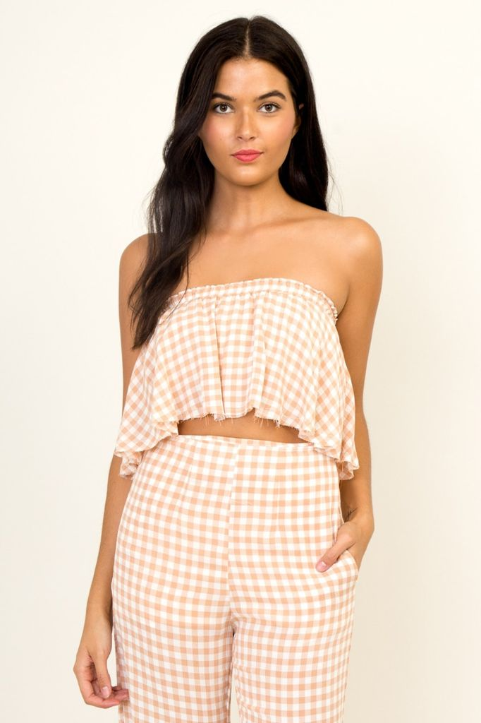 tops Gingham Crop Top