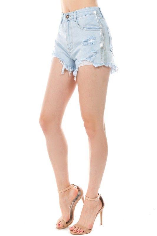 shorts Metallic Tux Destroyed Short
