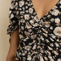 tops Floral Drawstring Blouse