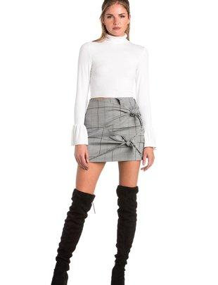 Skirt Double Bow Plaid Mini Skirt