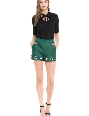 shorts Flower Embellished Hem Shorts