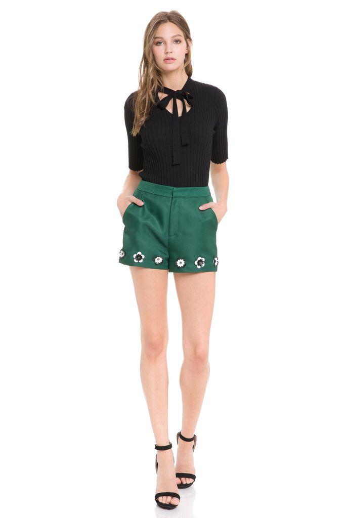 shorts Flower Embellished Hem Shorts