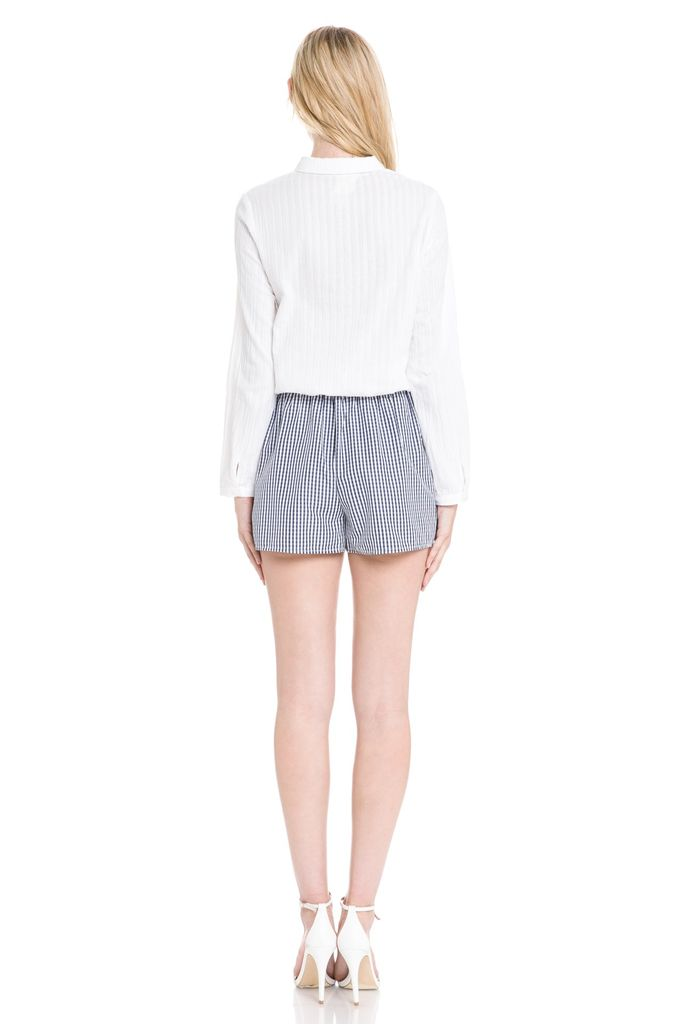 tops Bell l/s Button Down Knot Top