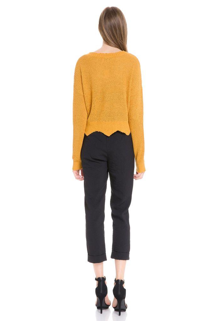 tops Knit Crop W/Frayed Hem