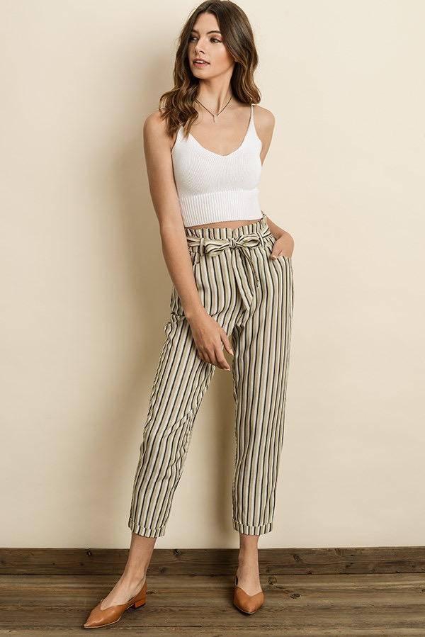 Bottoms Triple Striped Cigarette Pants