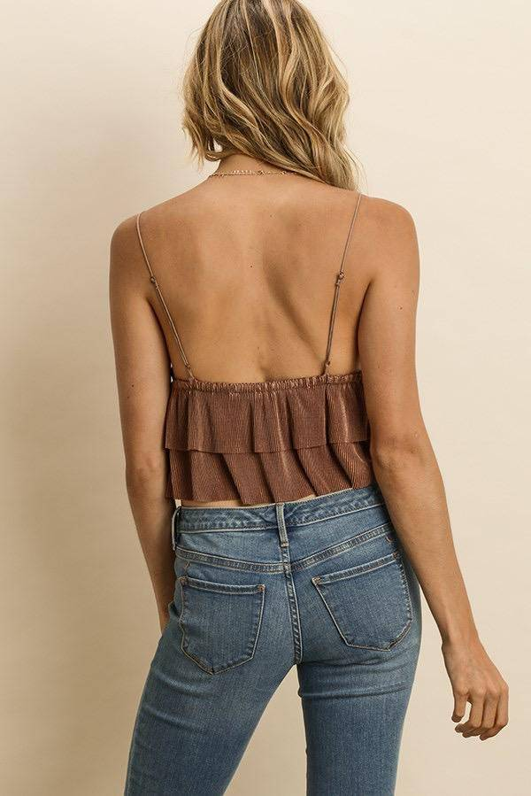 tops Double Flare Pleated Cami Top