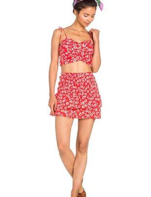Skirt Floral Flare Mini Skirt