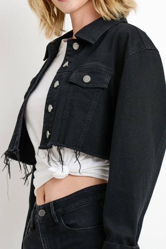 jackets Oversized Crop Denim Jacket
