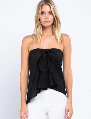 tops Off Shoulder Tie Front Linen Top