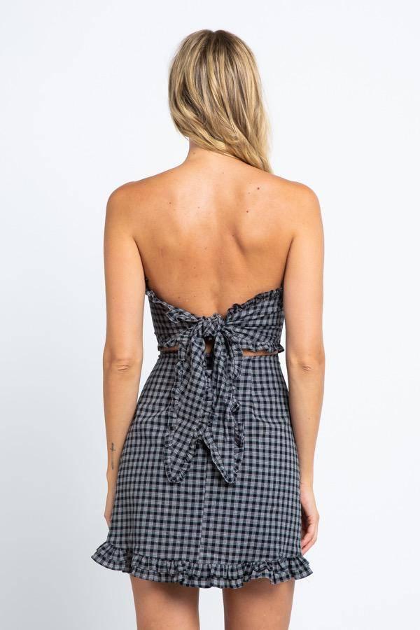 dresses Plaid Back Wrapped Mini Dress