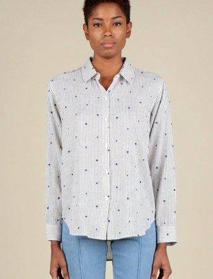 Shirt Striped Button Down Shirt W/Flocking