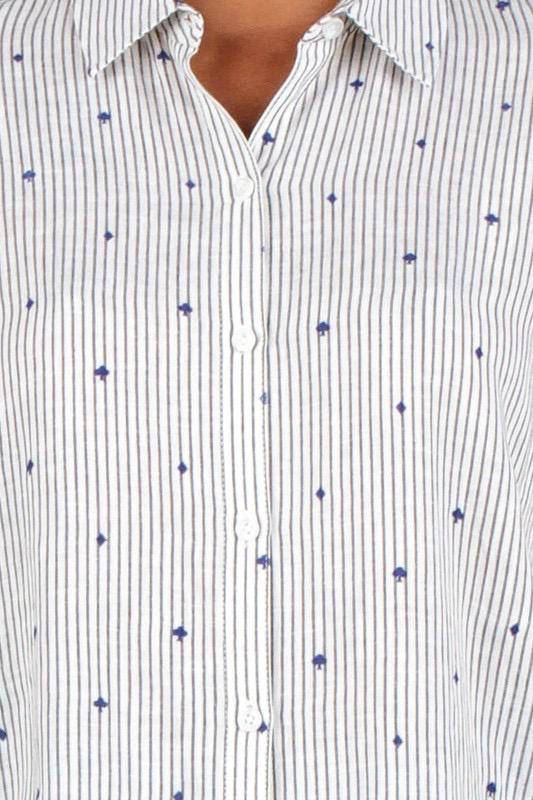 Shirt Striped Button Down Shirt W/Flocking