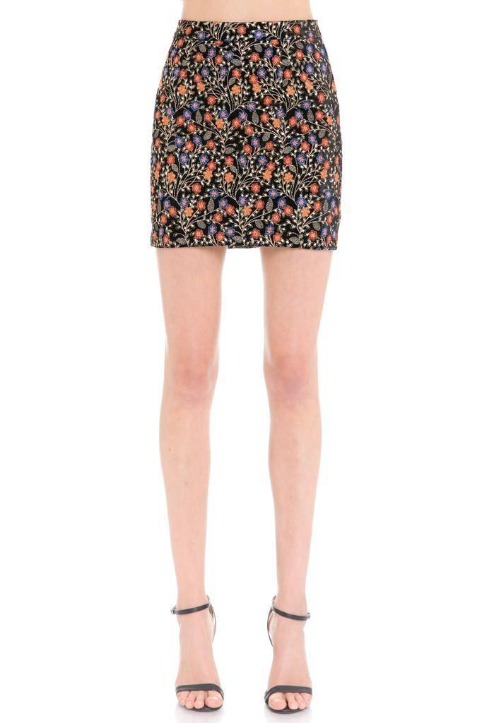 Skirt Embroidered Velvet Mini Skirt