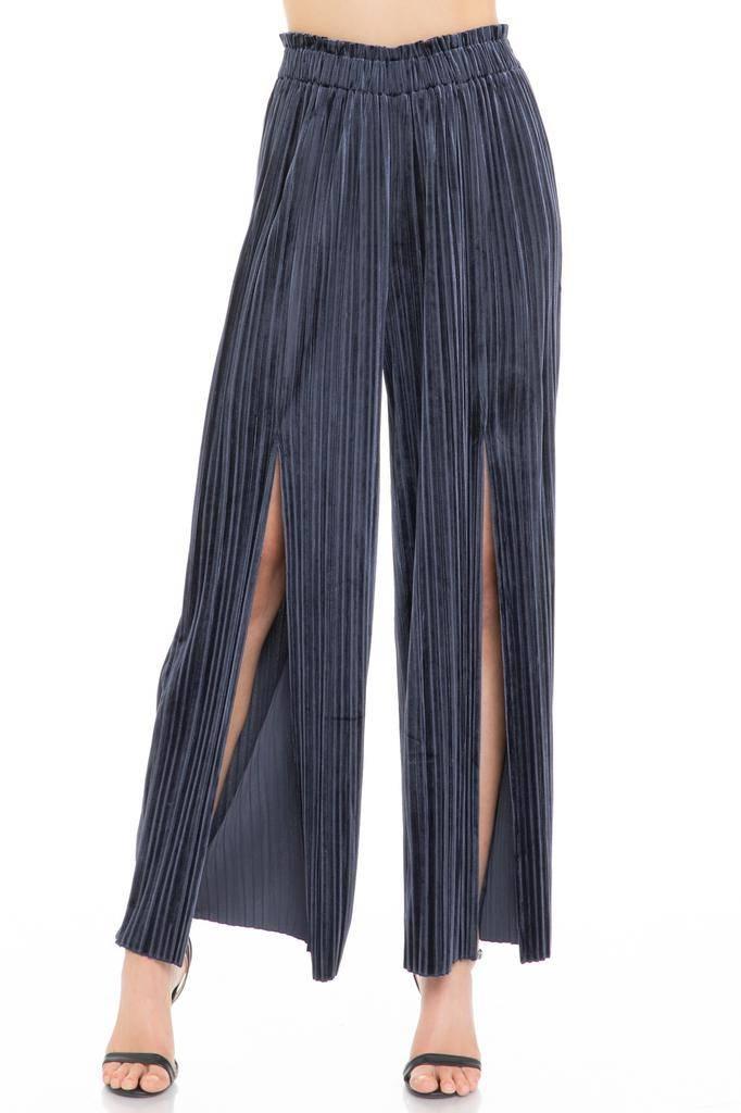 Bottoms Pleated Velvet Wide Leg Trouser