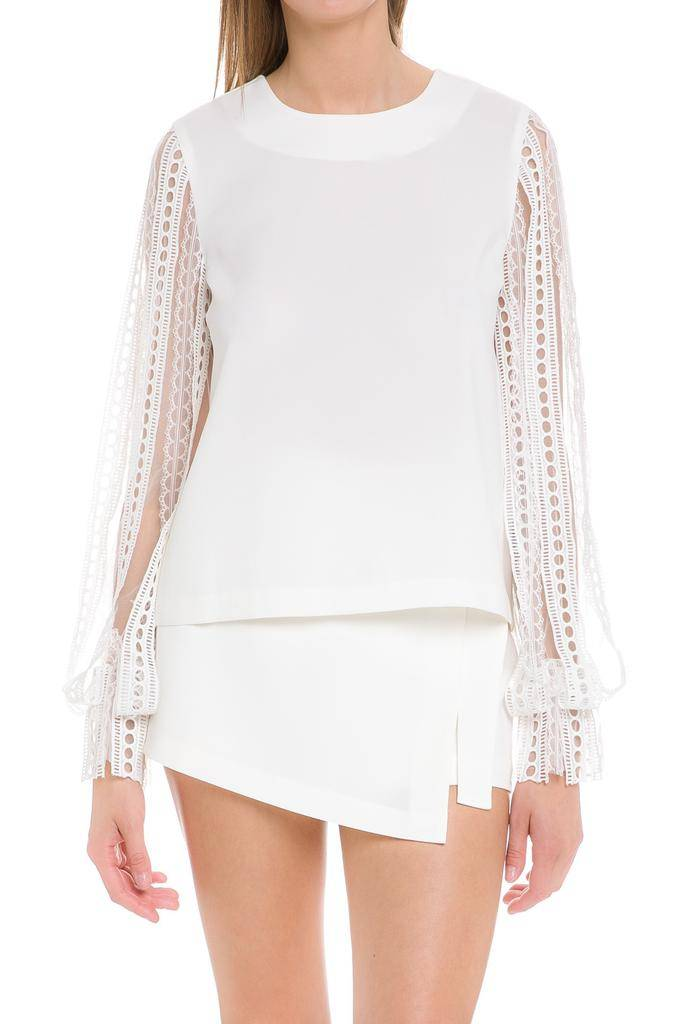 tops Lace Ribbon Sleeve Blouse