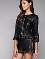 jackets Faux Leather Ruffle Jacket