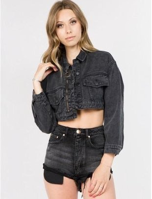 jackets Zip Detailed Crop Denim Jacket