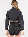 jackets Zip Detailed Crop Denim Jacket