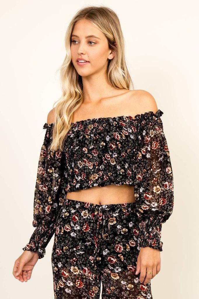 tops Festive Floral Off Shoulder Top