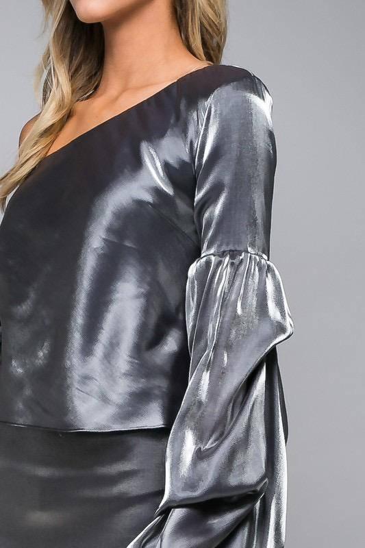 tops Metallic Ruffle Sleeve Top