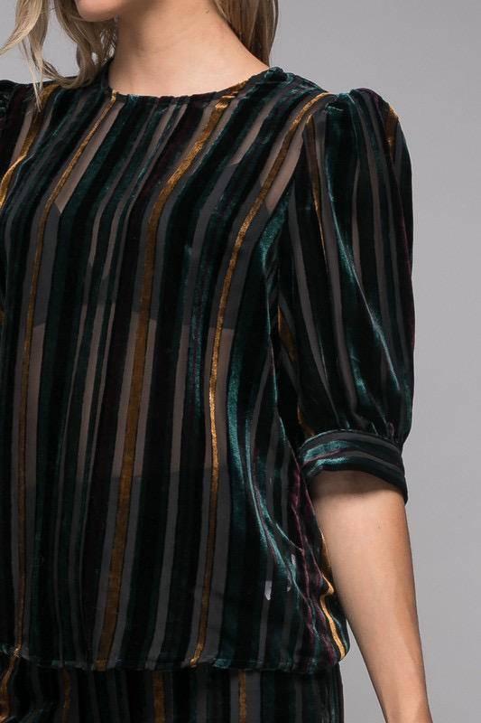 tops Velvet Multi Color Top