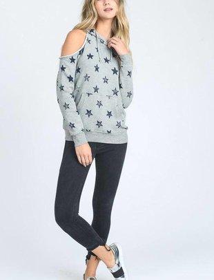 sweaters Cold Shoulder Star Sweatshirt w/Hoodie