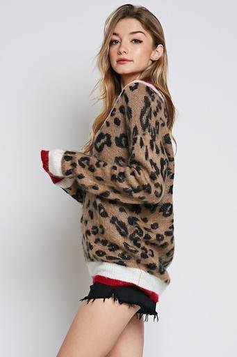 sweaters Leopard Brushed V-Neck Sweater