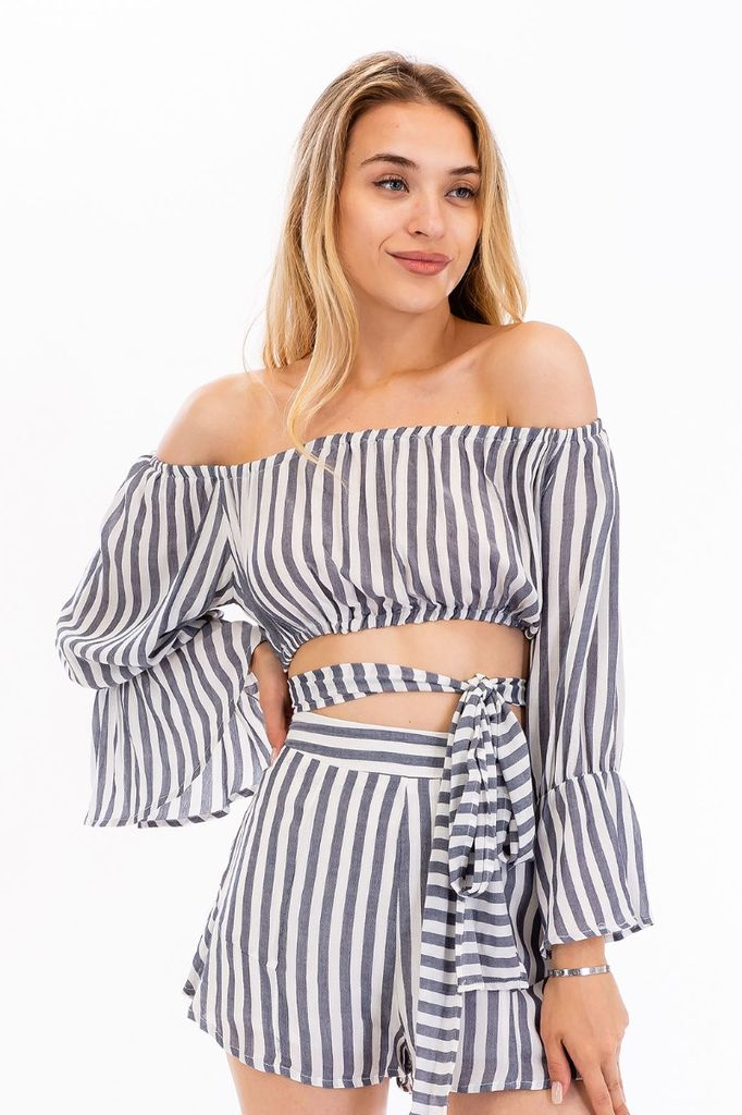 tops Striped Off Shoulder Crop Top