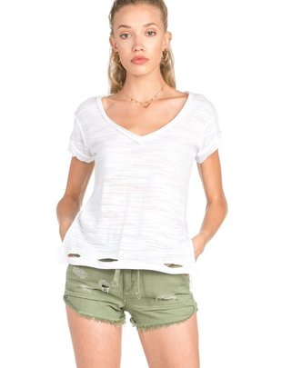 tops Distressed V-Neck Tee