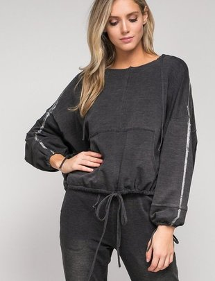 tops Foiled Knit Hoodie