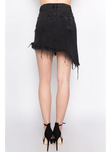 Bottoms Unbalance Denim Skirt