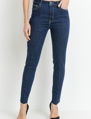 denim Pintuck front skinny