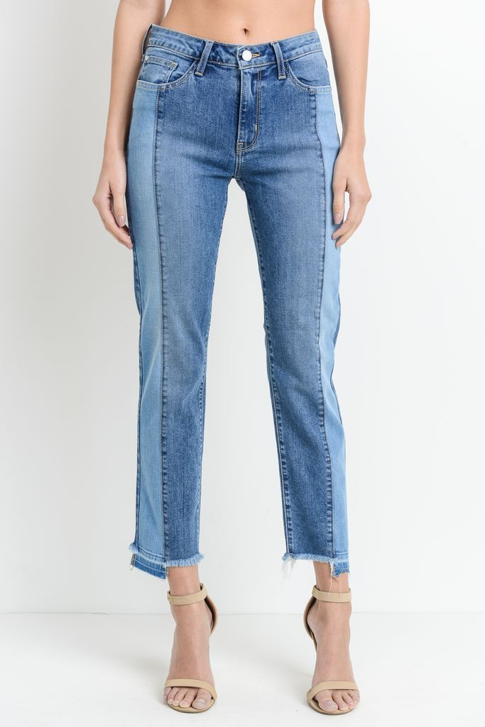 denim Two Toned Seamed Front Jean