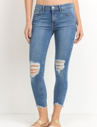 denim Destroyed Hem Crop