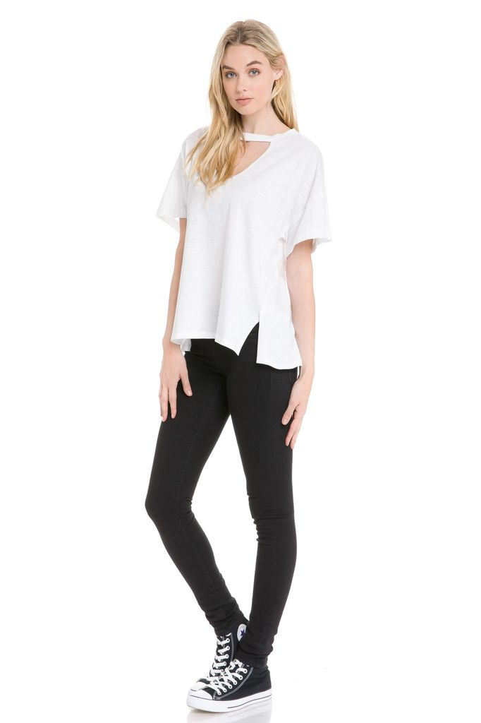 Tees Oversized loose tee W/front Cut Out