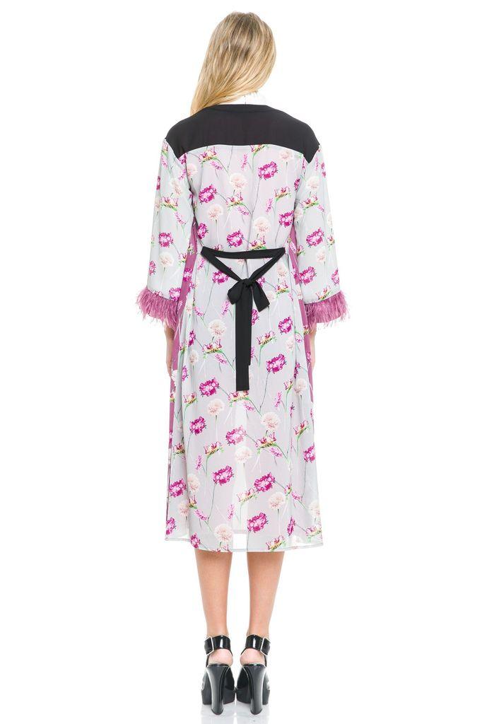 tops Mixed Kimono W/feather Detail