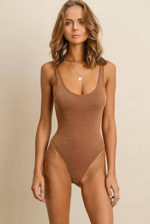 tops Sleeveless Ribbed Bodysuit