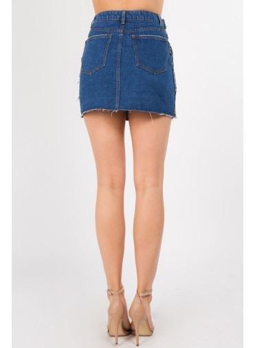Skirt Glen Plaid Mix Denim Skirt
