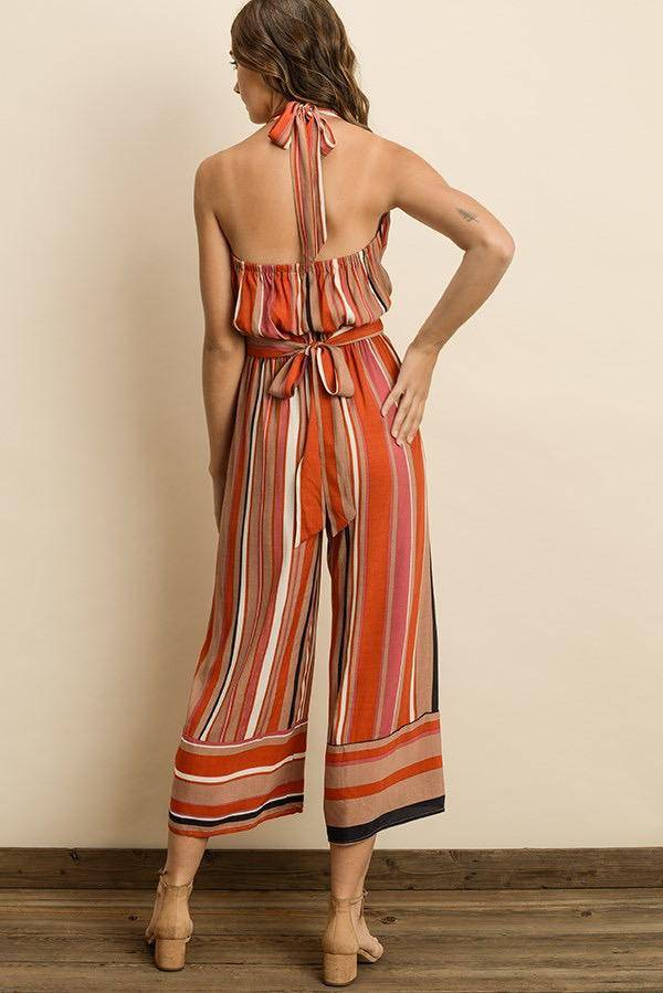 Jumpsuits Endless Stripe Halter Jumpsuit