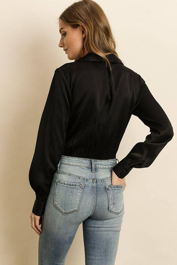 tops Knot-Front Satin Blouse