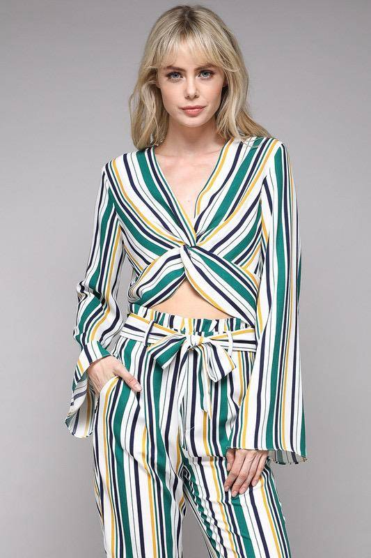 tops Stripe Knot Top